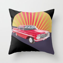Vintage red car Throw Pillow