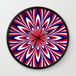Fourth of July Flower Wall Clock