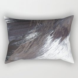 Gestural Brush Strokes Painting in Navy Blue and Grey Rectangular Pillow