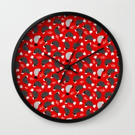 chickens and snails on red ground Wall Clock
