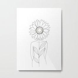 Minimalistic Line Art of Woman with Sunflower Metal Print