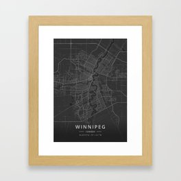 Winnipeg, Canada - Dark Map Framed Art Print