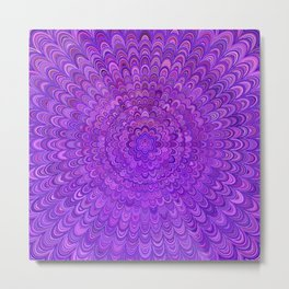 Purple Mandala Bird Feathers Metal Print
