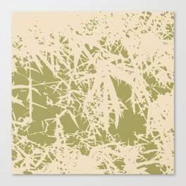 Bamboo branches and leaves in beige Canvas Print