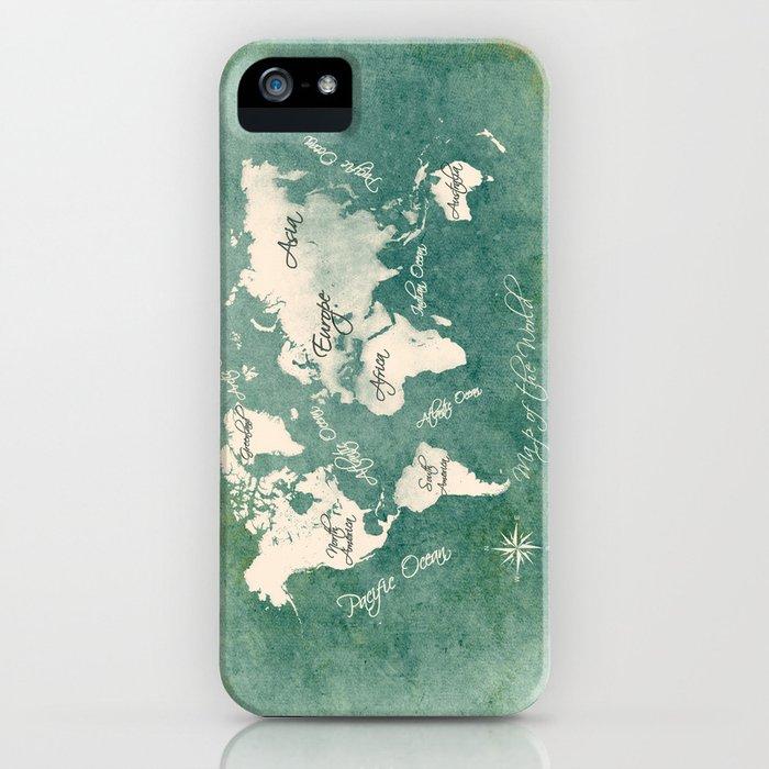 world map 151 green white #worldmap #map iPhone Case