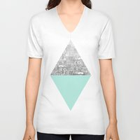 x files V-neck T-shirts featuring Diamond by David Fleck