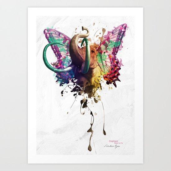 Elephant Need to Fly Art Print