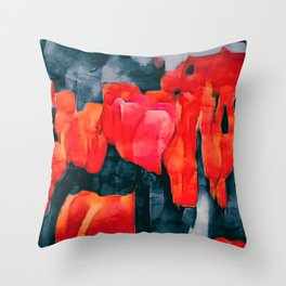 Tulip Field at Night Throw Pillow