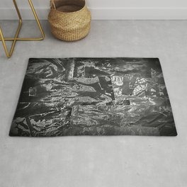 Black and White Abstract - Negative Style Random Pattern Rug