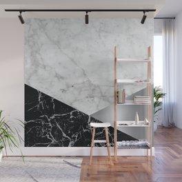 Geometric White Marble - Black Granite & Silver #230 Wall Mural
