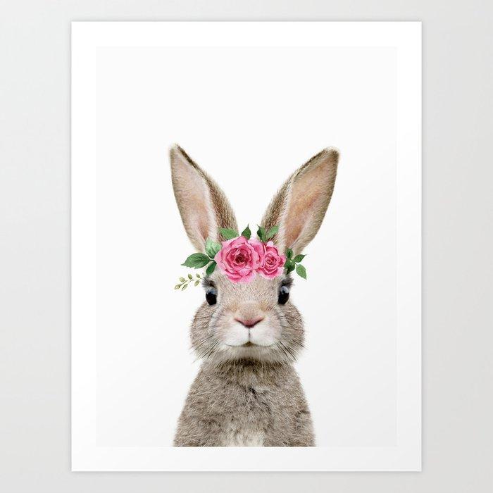 Baby Rabbit with Flower Crown Kunstdrucke