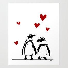 Love Penguins Art Print