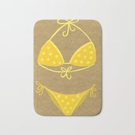Yellow Polka Dot Bikini on Kraft Bath Mat