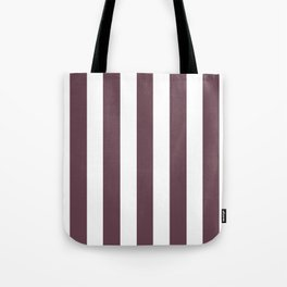 Deep Tuscan red purple - solid color - white vertical lines pattern Tote Bag