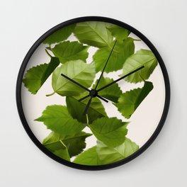 Green Leaves Falling Wall Clock