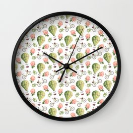 Bicycles Roses and Balloons Pattern Wall Clock