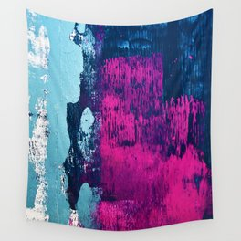 Early Bird: A vibrant minimal abstract piece in blues and pink by Alyssa Hamilton Art Wall Tapestry