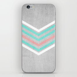 Teal, Pink and White Chevron on Silver Grey Wood iPhone Skin