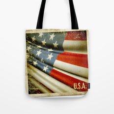 Grunge sticker of United States flag Tote Bag