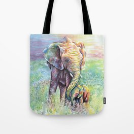 Colorful Mother Elephant and Baby Tote Bag