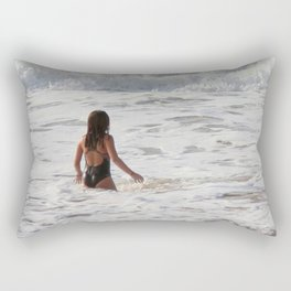 Breaking wave and girl Rectangular Pillow