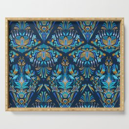 Bright colorful geometric floral blue tradition pattern Serving Tray