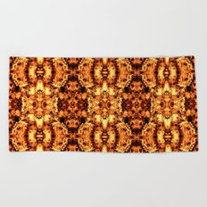 Brown Yellow  Flower Pattern Beach Towel