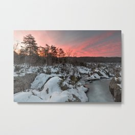 Great Falls Winter Twilight Metal Print