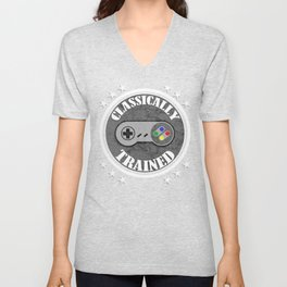 Classically Trained Retro 4 Button Video Game Shirt Unisex V-Neck