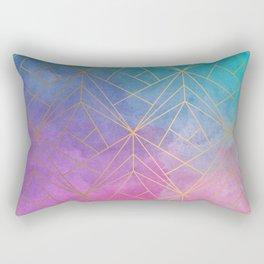 Watercolor Geometric Gold Pattern Art Rectangular Pillow