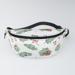 Christmas in the Woods - Watercolor berries and pinecones Fanny Pack