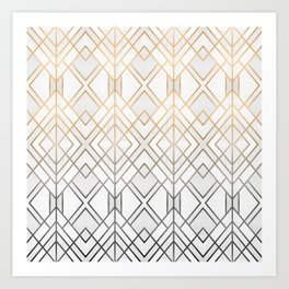 Gold And Grey Geo Art Print