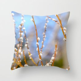 Willow Catkins Blue Sky Spring Mood Throw Pillow