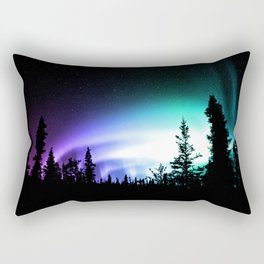Aurora Borealis Forest Rectangular Pillow