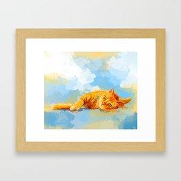 Cat Dream - orange tabby cat painting Framed Art Print