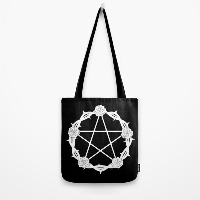 Pentagram and Roses Tote Bag