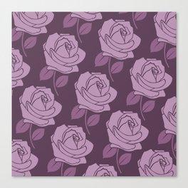 Big Pink Rose Pattern on Plum Canvas Print
