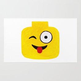 Winking Smile - Emoji Minifigure Painting Rug