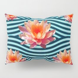 Peach Color Water Lily Water Garden Pillow Sham