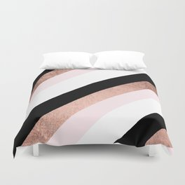 Modern trendy black blush pink rose gold geometric stripes pattern Duvet Cover