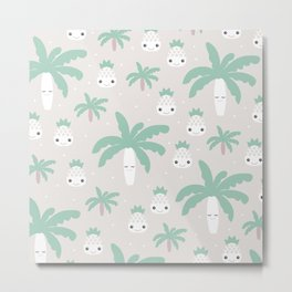 Kawaii breeze summer pineapples and palm trees Metal Print