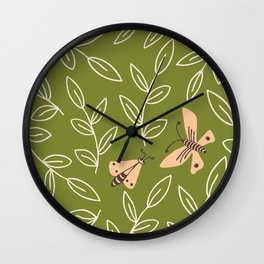 Leaves & Moths Wall Clock