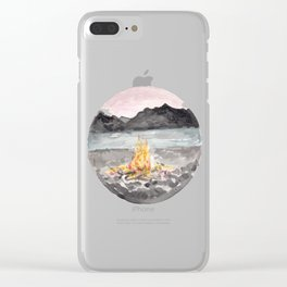 Campfire, Mountain Landscape, Camping Clear iPhone Case