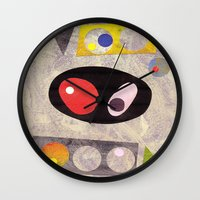50s Wall Clocks featuring Atomic 50s 60s Inspired Retro Collage Abstract Pink by Beatrice Roberts