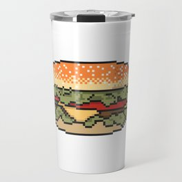 Burger pixel art on white background. Travel Mug