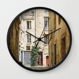 Narrow street in Bordeaux Wall Clock