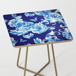 Blue Flowers & Butterflies Pattern Side Table