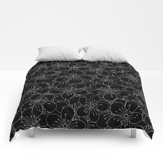 Cherry Blossom Black on White - In Memory of Mackenzie Comforters