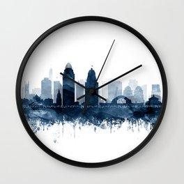 Cincinnati Skyline Blue Watercolor by Zouzounio Art Wall Clock