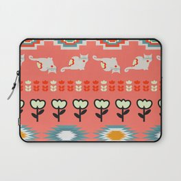 Winter pattern  with cats and flowers Laptop Sleeve